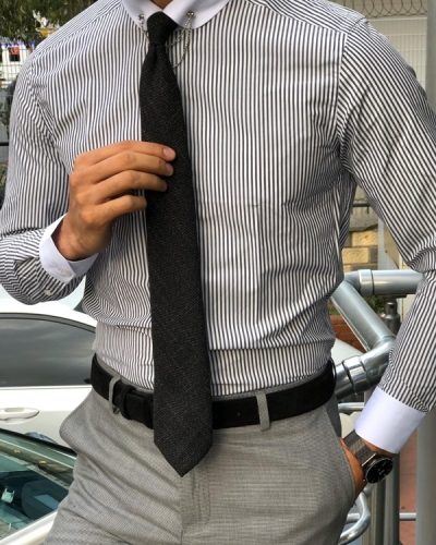 Black Chalk Stripe Chain Collar Dress Shirt by GentWith.com with Free Shipping Worldwide