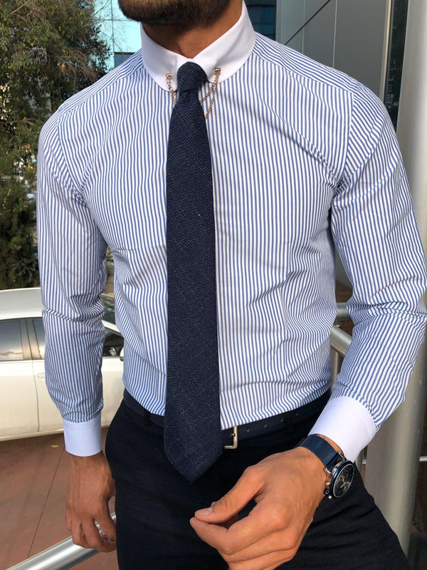 Blue Chalk Stripe Chain Collar Dress Shirt by GentWith.com with Free Shipping Worldwide