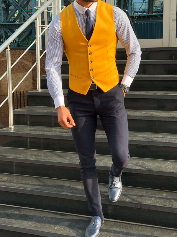 Slim Fit Yellow Vest by GentWith.com with Free Shipping Worldwide