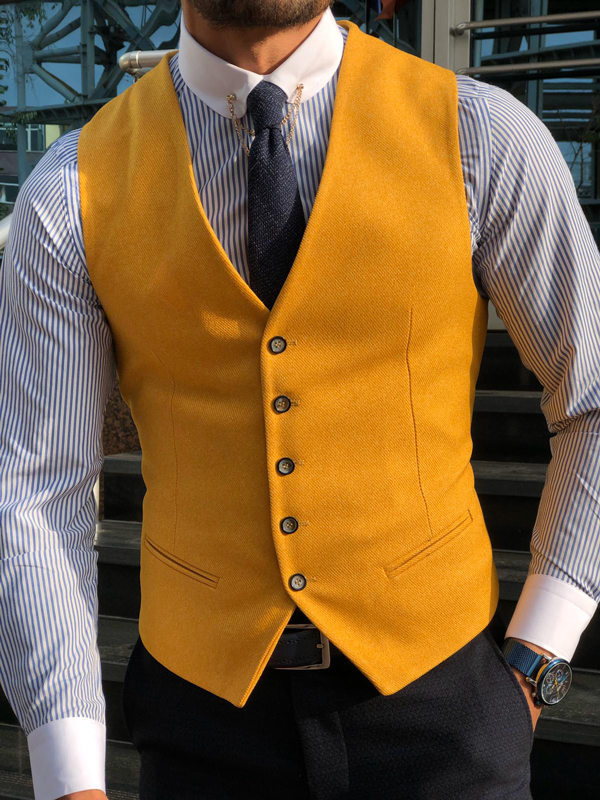 Yellow Slim Fit Cotton Vest by GentWith.com with Free Shipping Worldwide