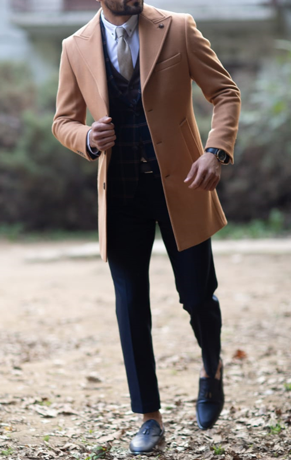 Camel Slim Fit Wool Long Coat by GentWith.com with Free Shipping Worldwide