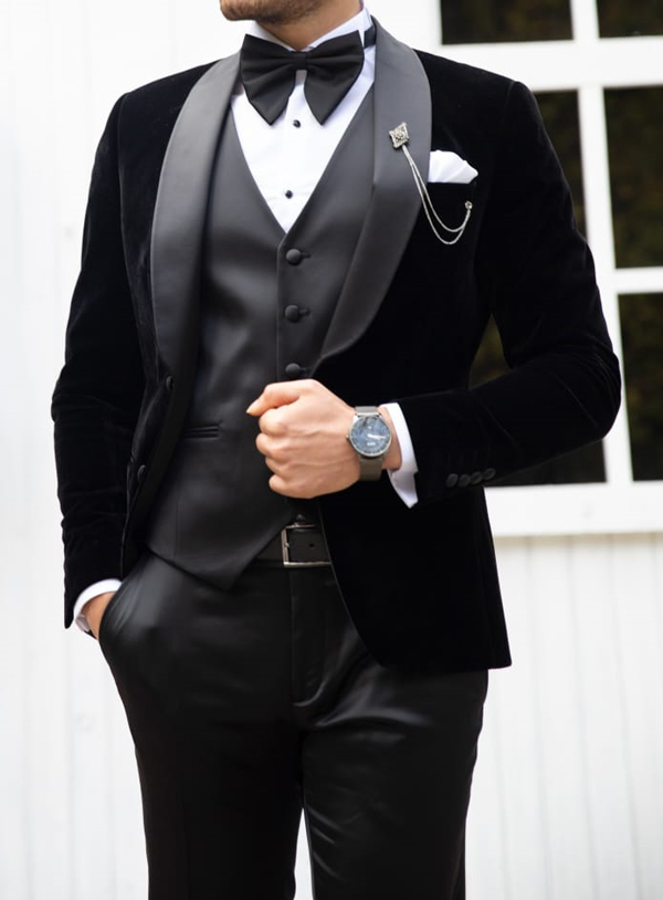 Black Velvet Tuxedo by GentWith.com with Free Shipping Worldwide