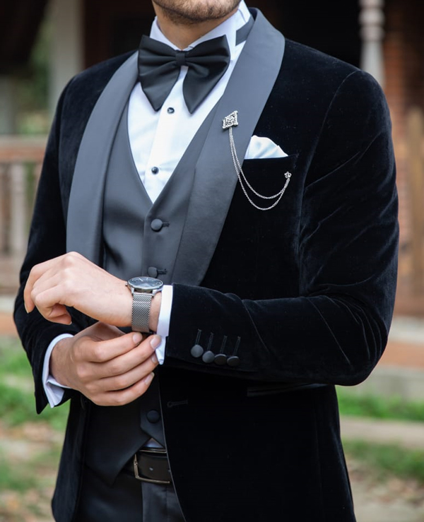 Black Shawl Collar Velvet Tuxedo by GentWith.com with Free Shipping Worldwide