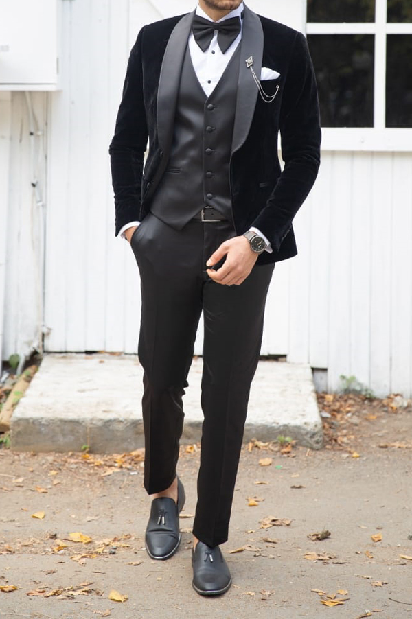 Black Slim Fit Shawl Collar Velvet Tuxedo by GentWith.com with Free Shipping Worldwide