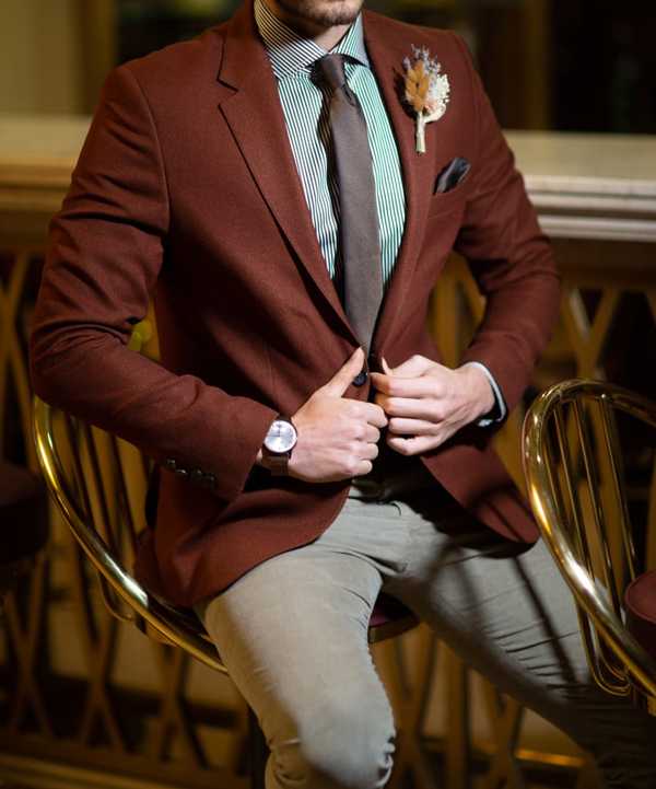 Brown Slim Fit Jacket by GentWith.com with Free Shipping Worldwide