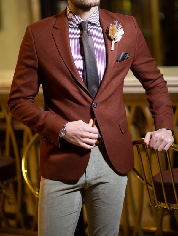 Brown Slim Fit Blazer by GentWith.com with Free Shipping Worldwide