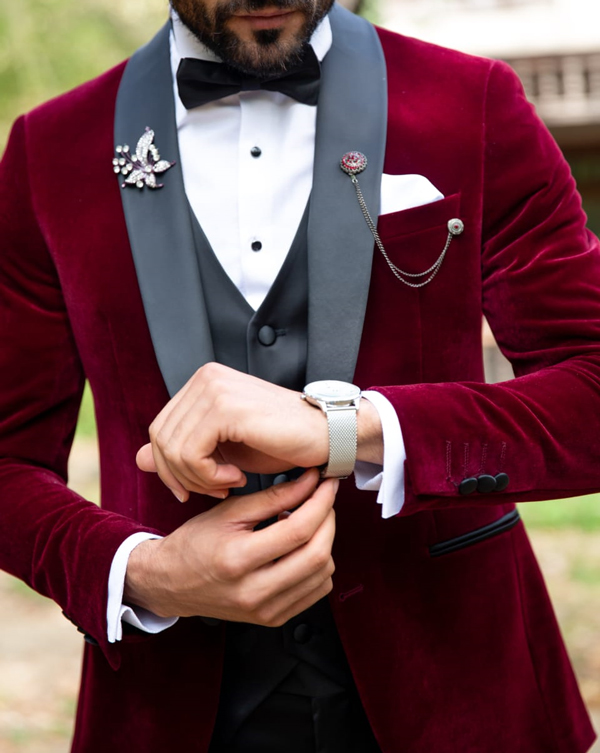 Red Slim Fit Shawl Collar Velvet Tuxedo by Gentwith.com with Free Shipping