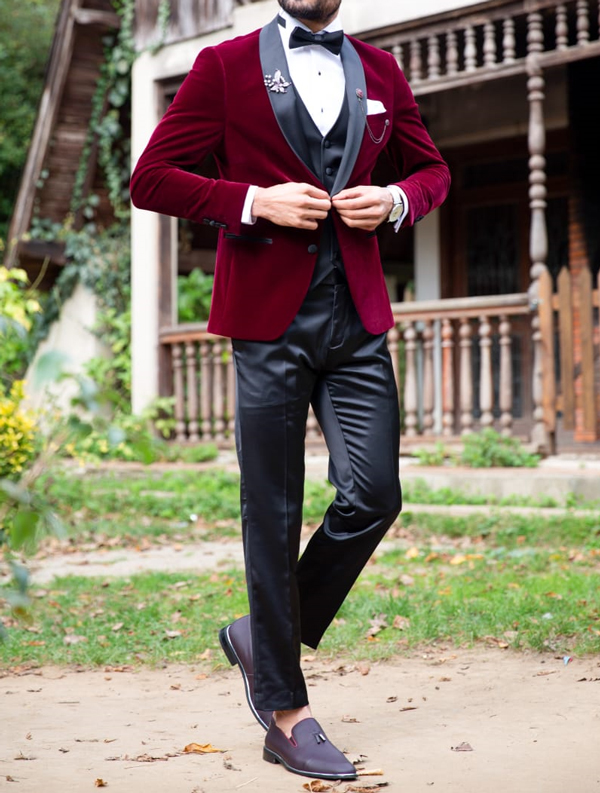 Red Velvet Tuxedo by Gentwith.com with Free Shipping