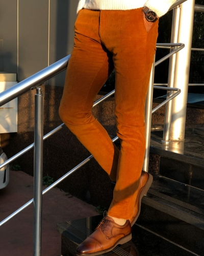 Brown Slim Fit Corduroy Pants by GentWith.com with Free Shipping