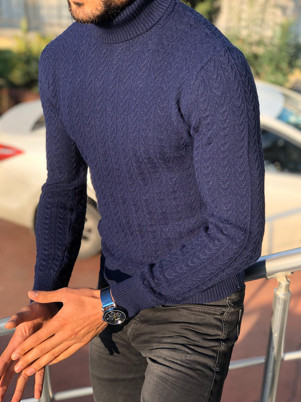 Navy Blue Slim Fit Turtleneck Sweater by GentWith.com with Free Shipping