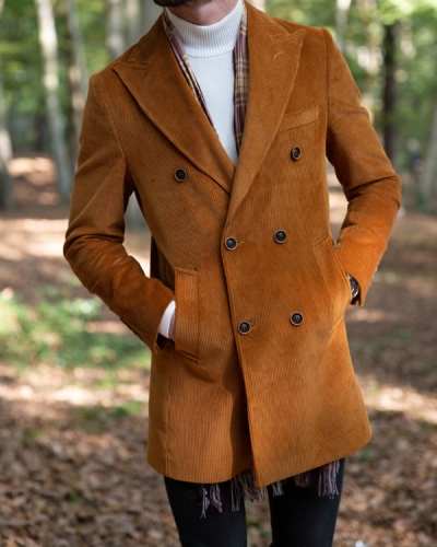 Brown Slim Fit Double Breasted Coat by Gentwith.com with Free Shipping