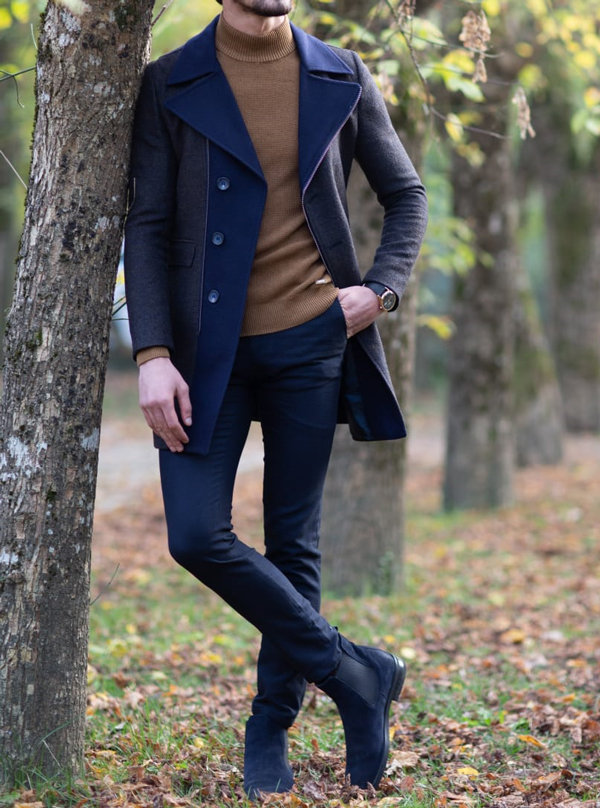 Navy Blue Zipper Wool Long Coat by GentWith.com with Free Shipping Worldwide
