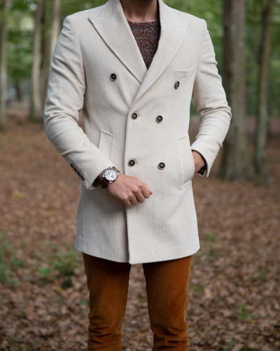 White Slim Fit Double Breasted Coat by Gentwith.com with Free Shipping