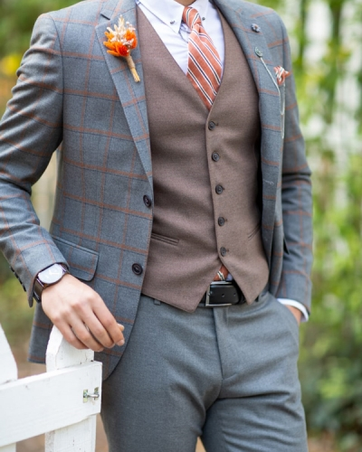 Gray Slim Fit Glen Check Plaid Suit by Gentwith.com with Free Shipping