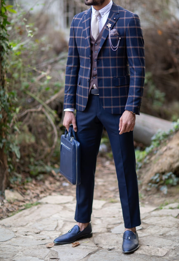Navy Blue Slim Fit Glen Check Plaid Suit by Gentwith.com with Free Shipping