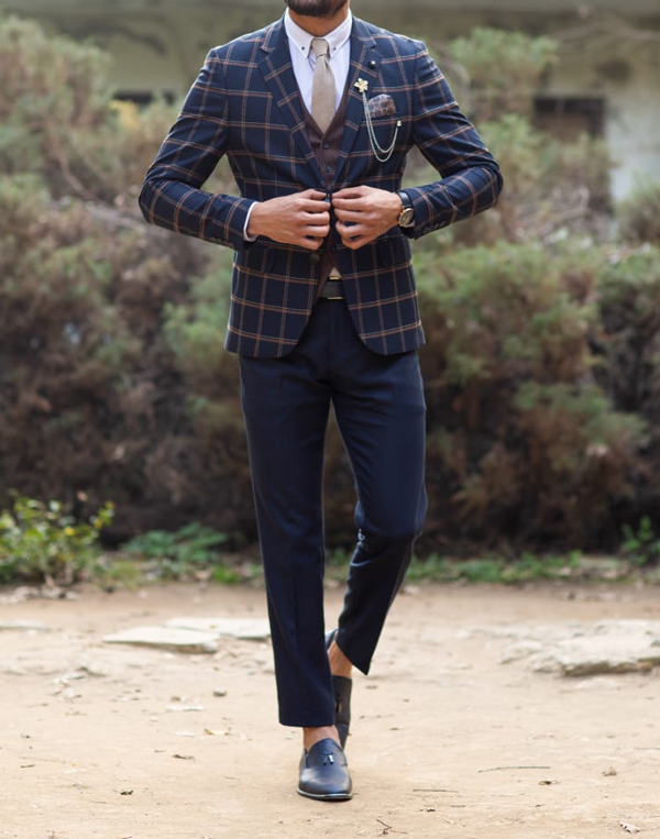 Navy Blue Glen Check Plaid Suit by Gentwith.com with Free Shipping
