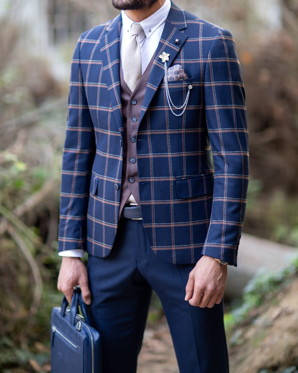 Navy Blue Plaid Suit by Gentwith.com with Free Shipping