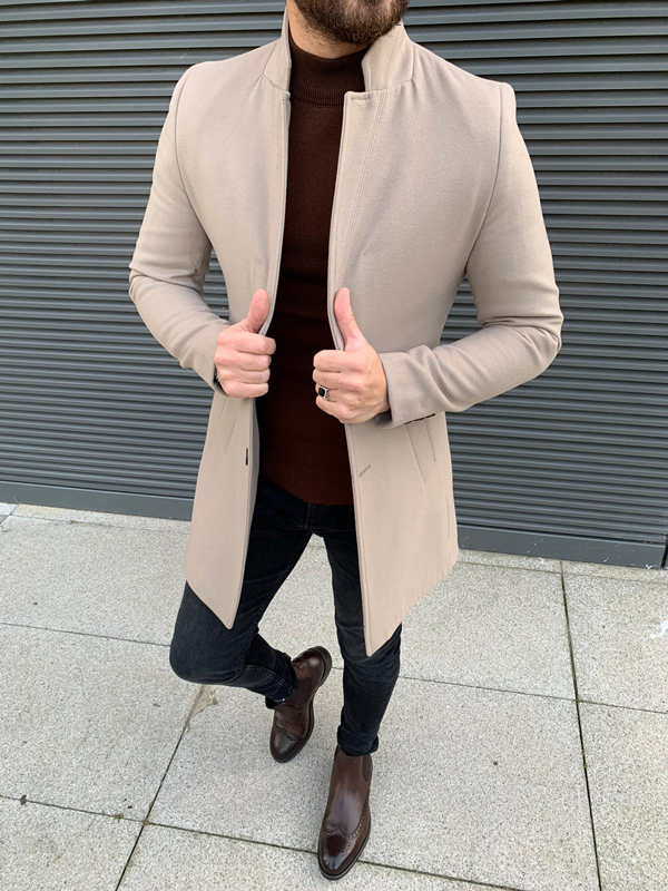 Beige Slim Fit Wool Long Coat by GentWith.com with Free Shipping Worldwide