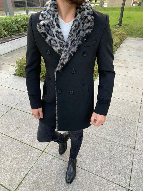 Black Slim Fit Fur Coat by GentWith.com with Free Shipping Worldwide
