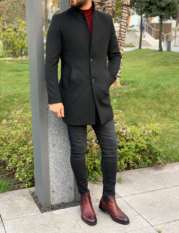 Black Slim Fit Wool Long Coat by GentWith.com with Free Shipping Worldwide