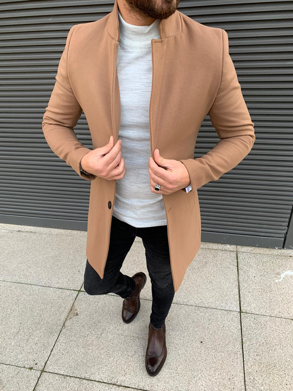 Brown Slim Fit Wool Long Coat by GentWith.com with Free Shipping Worldwide
