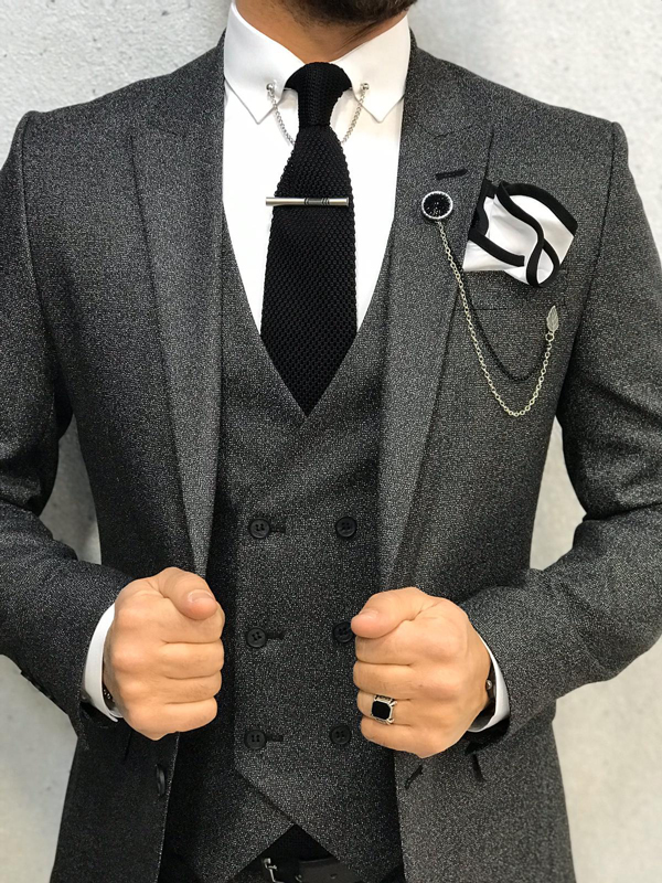 Dark Gray Wool Suit by GentWith.com with Free Shipping Worldwide