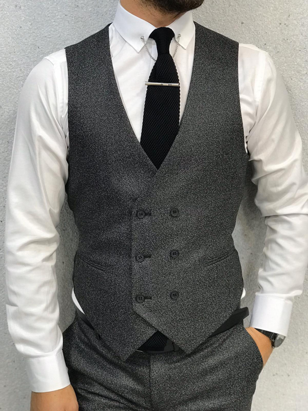 Dark Gray Slim Fit Wool Suit by GentWith.com with Free Shipping Worldwide