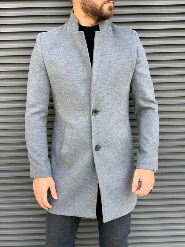 Gray Slim Fit Wool Long Coat by GentWith.com with Free Shipping Worldwide
