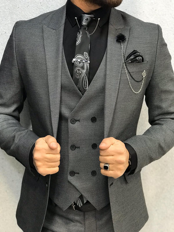 Gray Wool Suit by GentWith.com with Free Shipping Worldwide