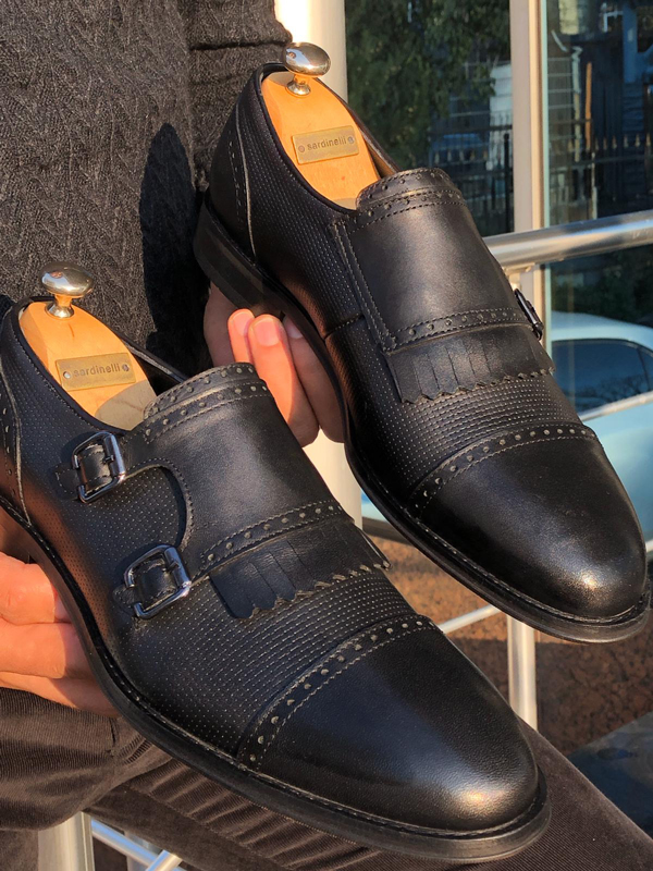 Black Monk Strap Cap Toe Loafer by GentWith.com with Free Shipping