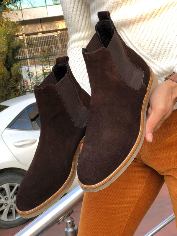 Brown Suede Leather Chelsea Boots by GentWith.com with Free Shipping