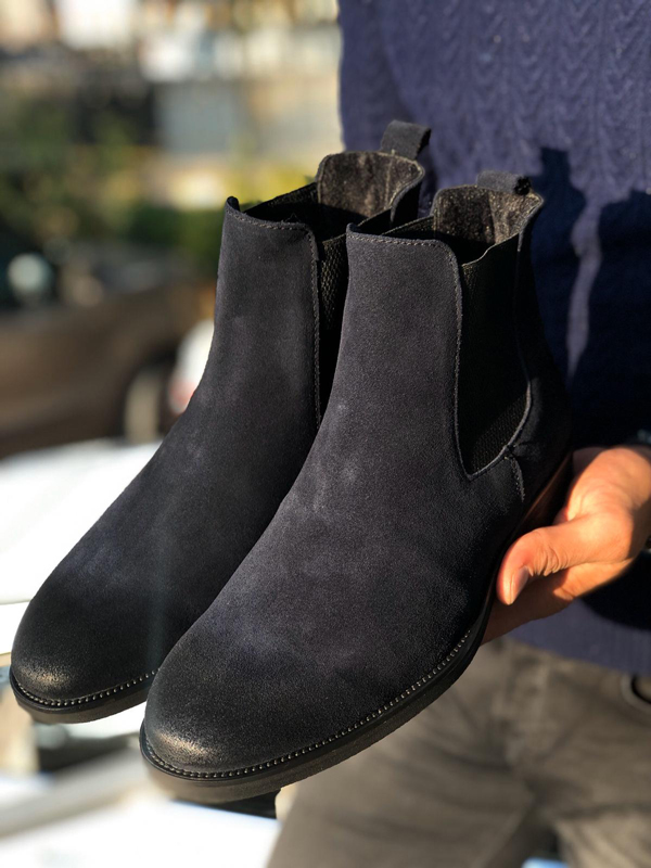Navy Blue Suede Leather Chelsea Boots by GentWith.com with Free Shipping