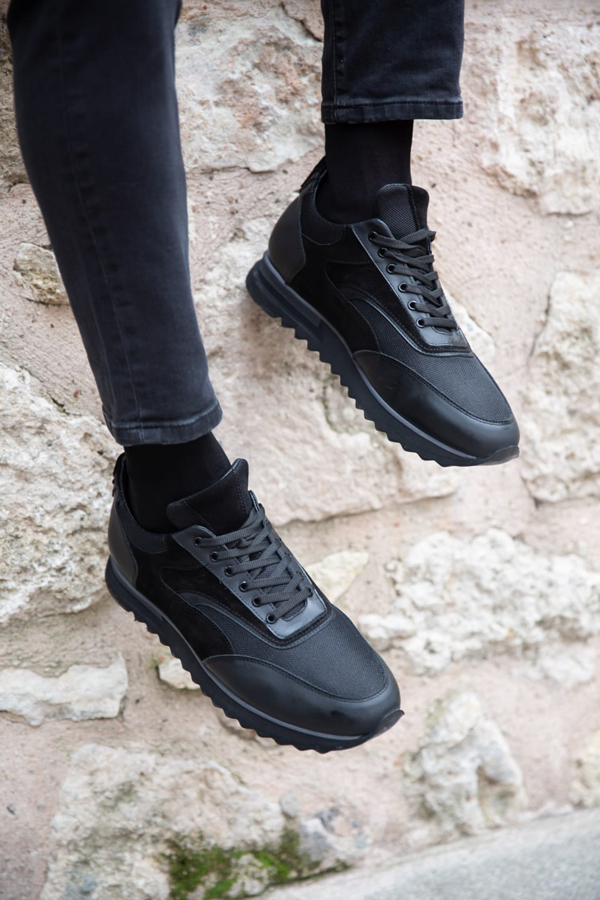 Black Laced Sneakers by GentWith.com with Free Shipping Worldwide