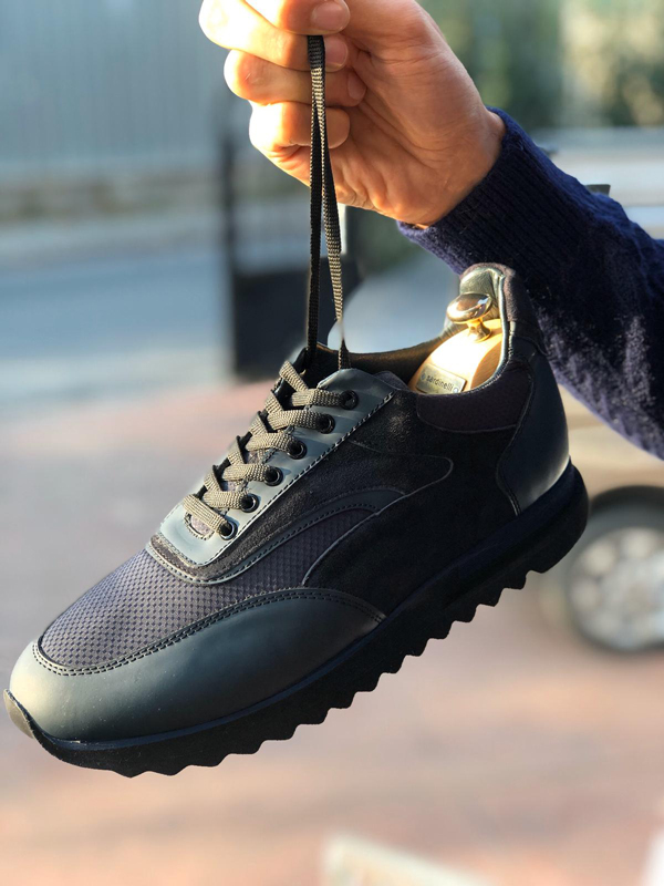 Navy Blue Laced Sneakers by GentWith.com with Free Shipping