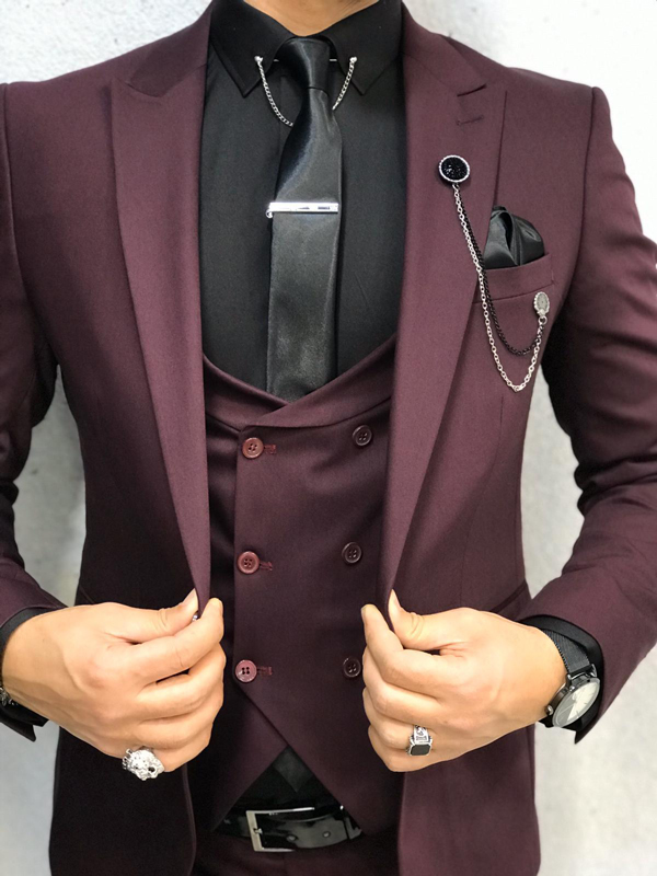 Burgundy Slim Fit Wool Suit by GentWith.com with Free Shipping Worldwide