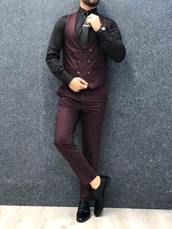 Burgundy Wool Suit by GentWith.com with Free Shipping Worldwide