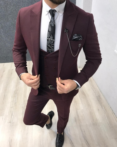 Claret Red Slim Fit Wool Suit by GentWith.com with Free Shipping Worldwide
