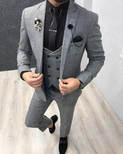 Gray Slim Fit Wool Suit by GentWith.com with Free Shipping Worldwide