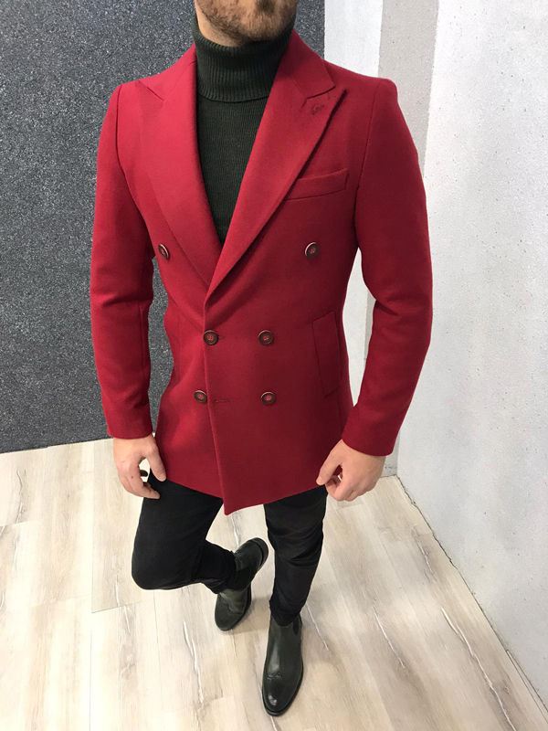 Red Slim Fit Double Breasted Wool Long Coat by GentWith.com with Free Worldwide Shipping