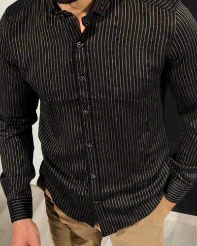 Black Slim Fit Pinstripe Shirt by GentWith.com with Free Worldwide Shipping