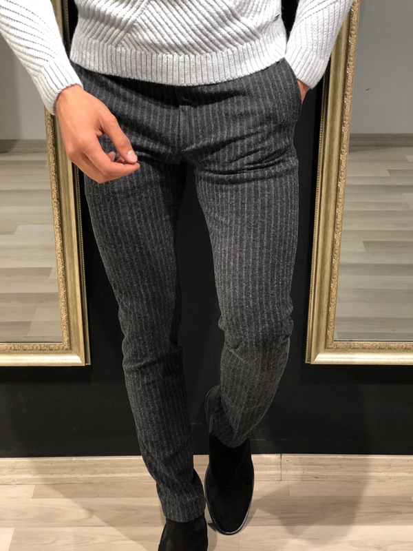 Black Slim Fit Striped Pants by GentWith.com with Free Worldwide Shipping