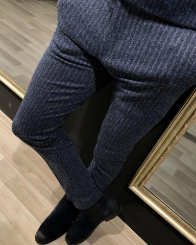 Navy Blue Slim Fit Striped Pants by GentWith.com with Free Worldwide Shipping