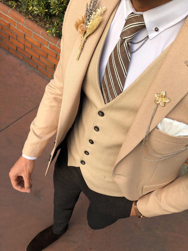 Beige Slim Fit Tuxedo by GentWith.com with Free Worldwide Shipping