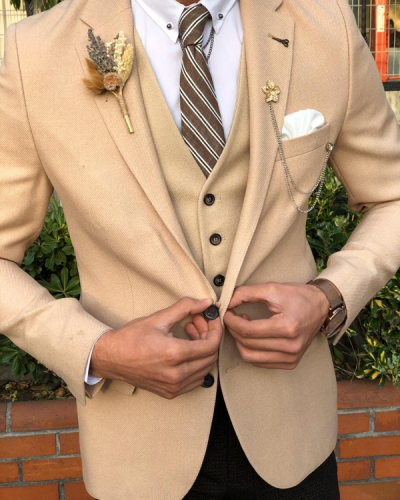 Cream Slim Fit Tuxedo by GentWith.com with Free Worldwide Shipping