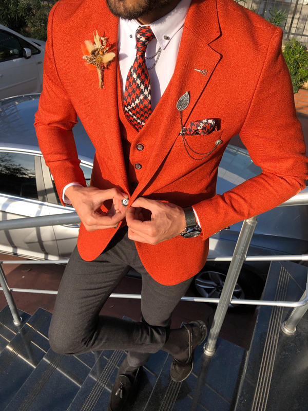 Orange Slim Fit Tuxedo by GentWith.com with Free Worldwide Shipping