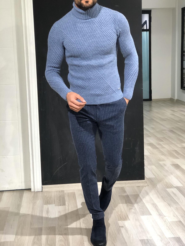 Blue Turtleneck Sweater by GentWith.com with Free Worldwide Shipping