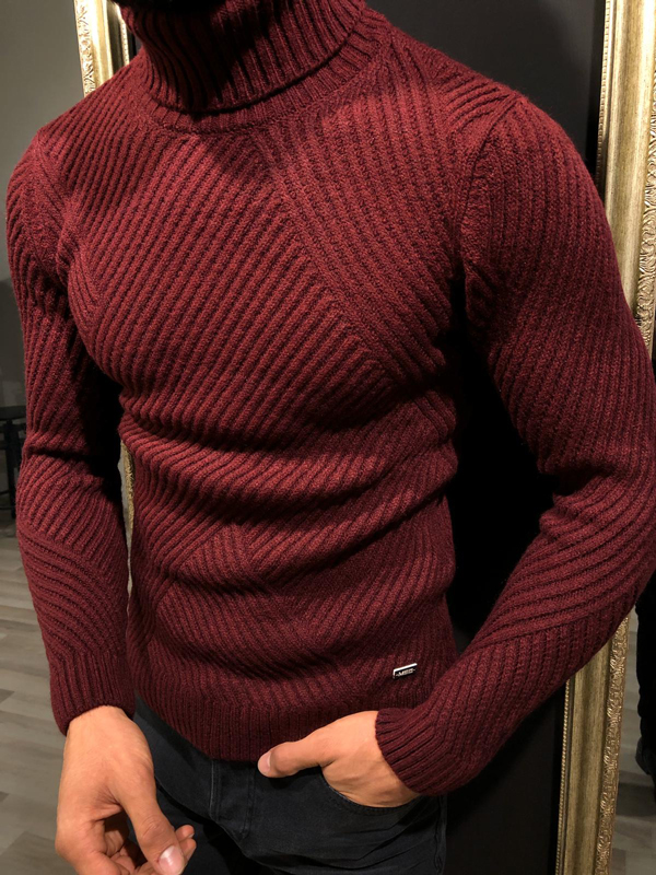 Claret Red Slim Fit Turtleneck Sweater by GentWith.com with Free Worldwide Shipping