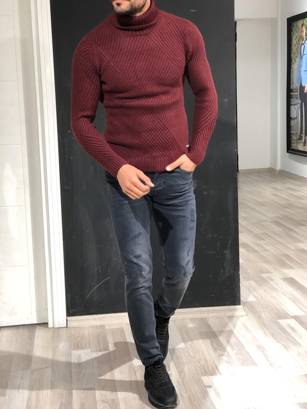 Burgundy Slim Fit Turtleneck Sweater by GentWith.com with Free Worldwide Shipping