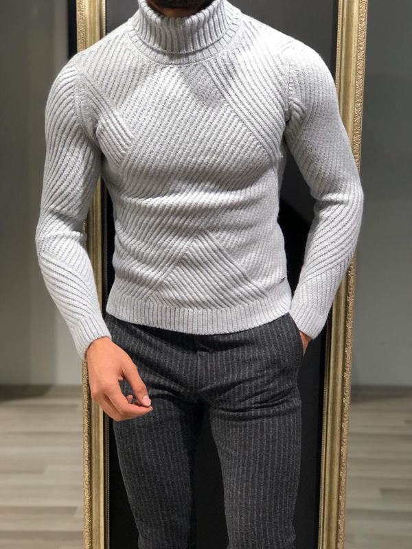 Gray Slim Fit Turtleneck Sweater by GentWith.com with Free Worldwide Shipping