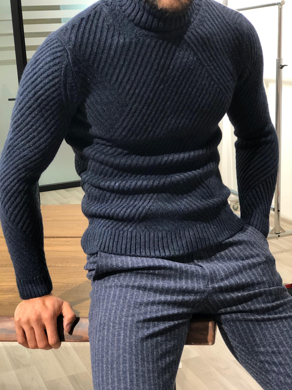 Navy Blue Slim Fit Turtleneck Sweater by GentWith.com with Free Worldwide Shipping